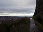 The view of the Castle of Edinburgh from the paved path