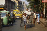 Street scene with rickshaw